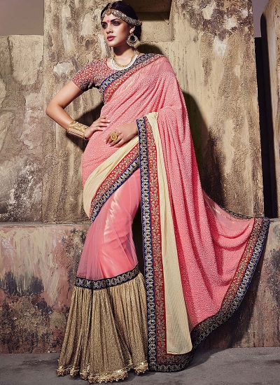 Scintillating Hot Pink Georgettes On Net Saree