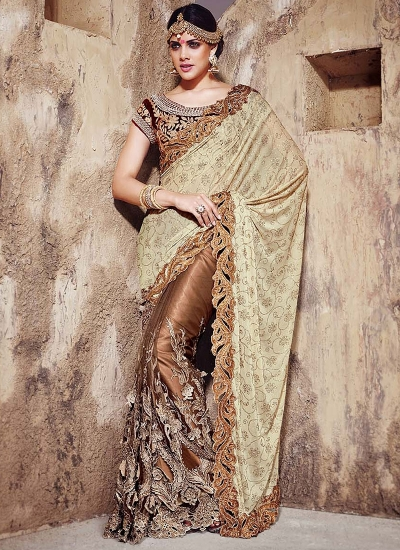 Eye-Catching Beige Net With Lycra Pallu Saree