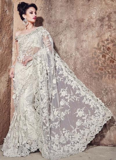 Heavenly White Net Wedding Saree