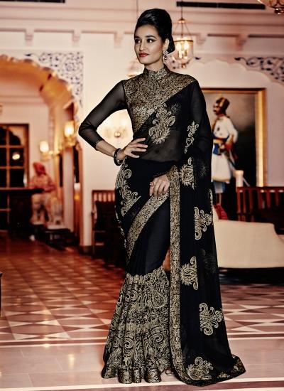 Striking Black Designer Saree