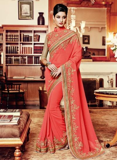 Tiptop Georgette Zari Work Designer Saree