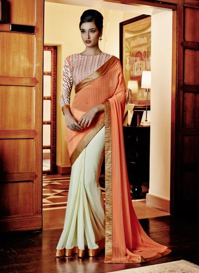 Cream and Orange Lace Work Georgette Designer Saree