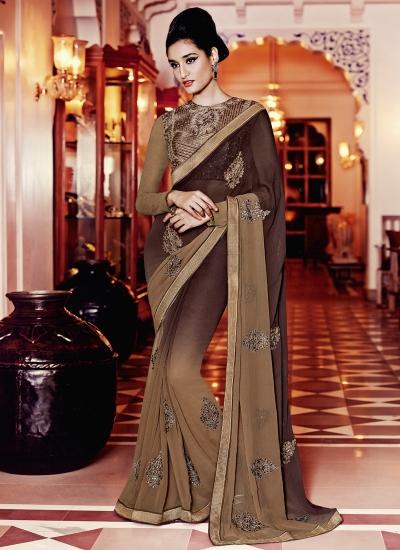 Praiseworthy Georgette Embroidered Work Designer Saree
