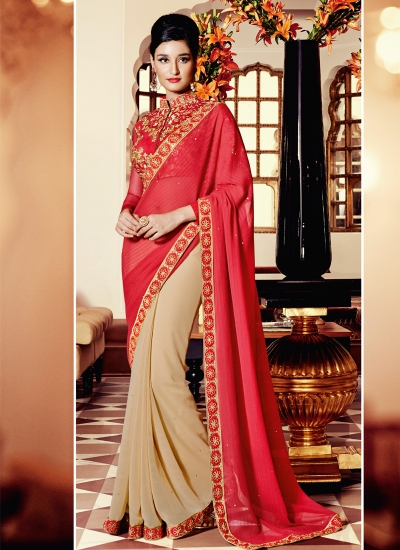 Immaculate Zari Work Red and Beige Designer Saree