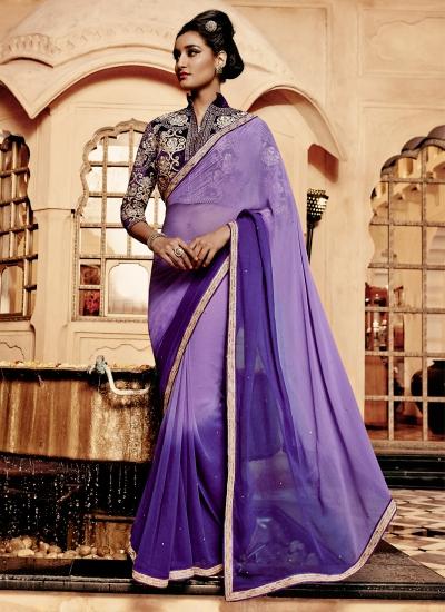Intrinsic Purple Resham Work Georgette Designer Saree