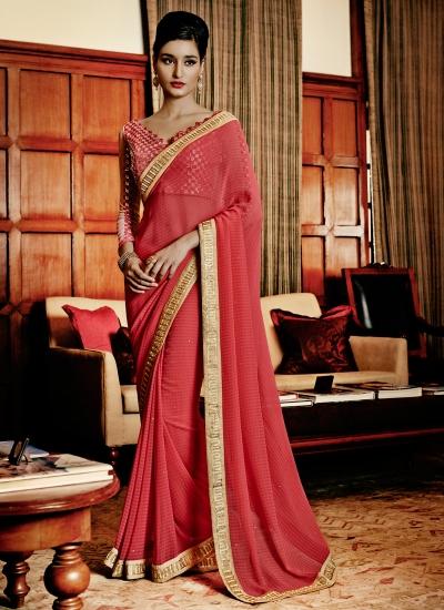 Pleasance Hot Pink Designer Saree