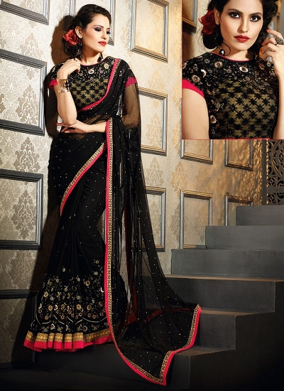 Snazzy Black Georgette On Net Saree