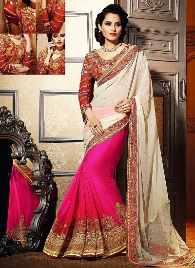 Regal Off White Georgette Saree