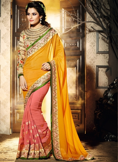 Magnetic Gold Georgette Saree