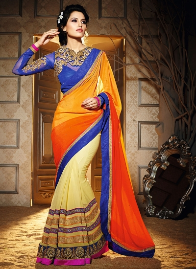 Blissful Multi Color Georgette Saree