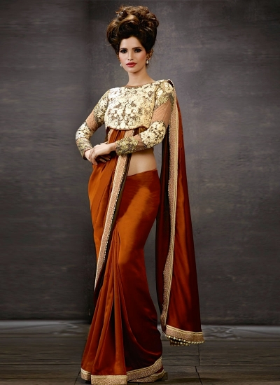 Brown Georgette Saree