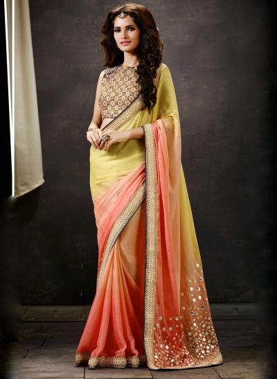 Peach And Yellow Art Silk Saree