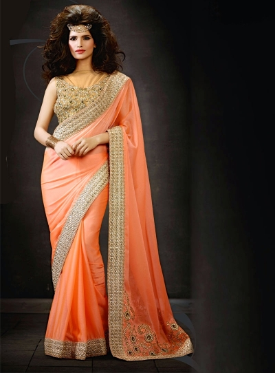 Orange Satin Chiffon Saree
