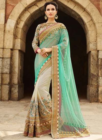 b83feef7bc Designer Saris online shopping in USA UK Canada|Buy Pastel Green ...