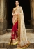 Off White And Red Net On Georgette Saree