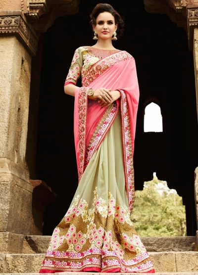 Pink And Moss Green Georgette Saree