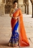 Orange And Blue Net On Georgette Saree
