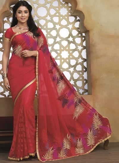 Crafty Red Georgette On Net Saree