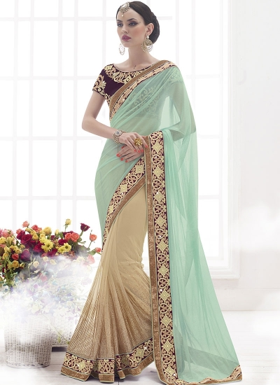 Vibrant Sea Green Lycra On Net Designer Saree