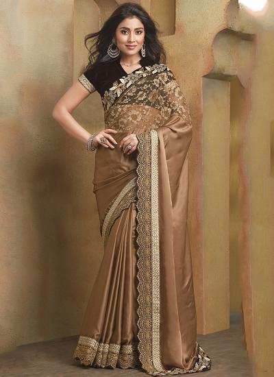 Artful Brown Satin Saree