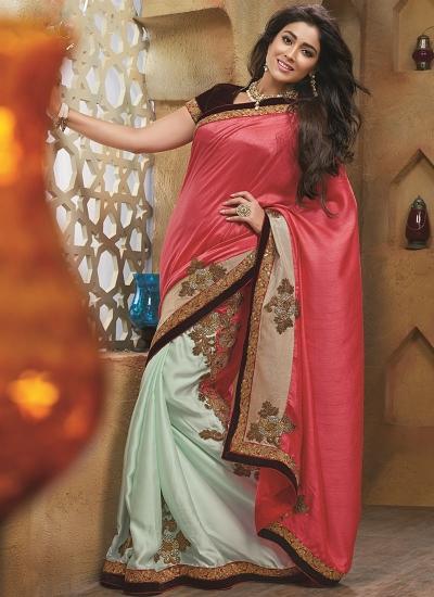 Brainy Hot Pink Satin Raw Silk Saree