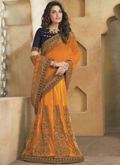 Shrewdly Orange Georgette On Net Lehenga Saree