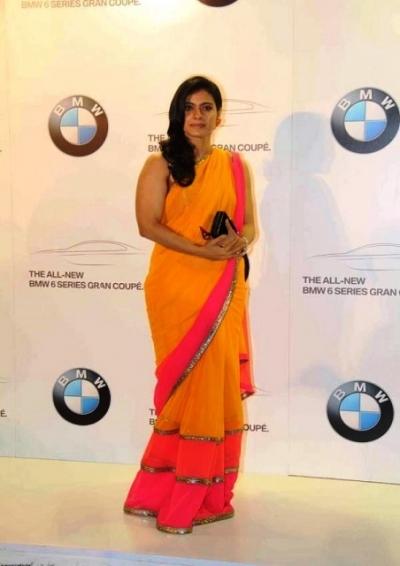 Kajol yellow and pink saree