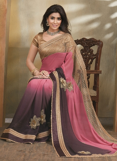 Anchorite Multi Color Georgette On Net Saree