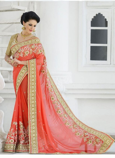 Ecstatic Orange Georgette Saree