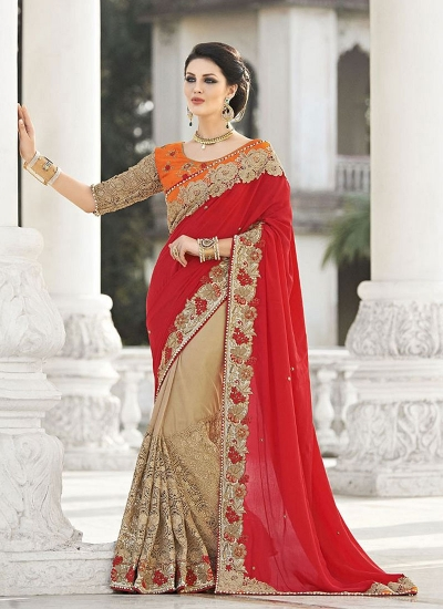 Vibrant Red Chiffon On Net Saree