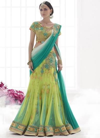 Gentility Liril Green Net Lehenga Saree