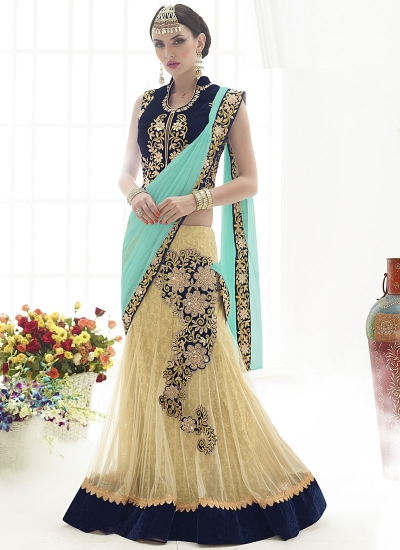 Sociability Cream Net Lehenga Saree