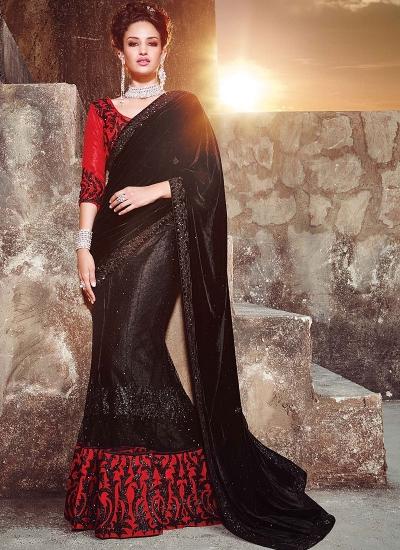 Peppy Black Velvet On Net Lehenga Saree
