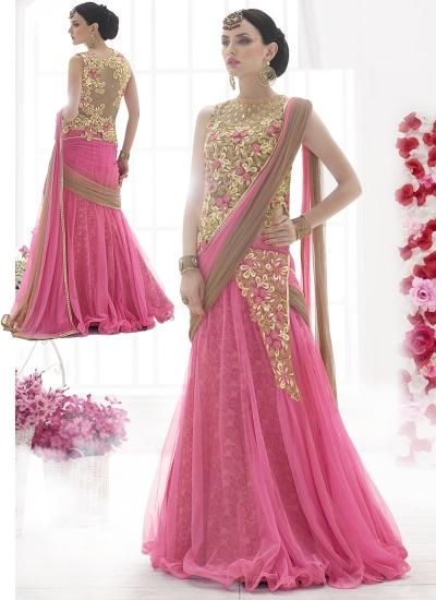 Civility Pink Net Lehenga Style Saree