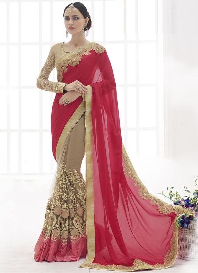 Goodness Red Chiffon On Net Saree