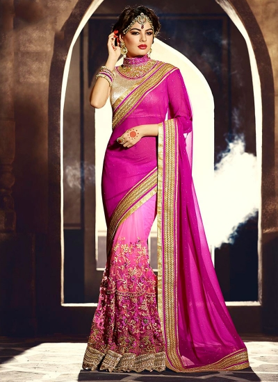 Excellent Shimmer Georgette Hot Pink Designer Saree
