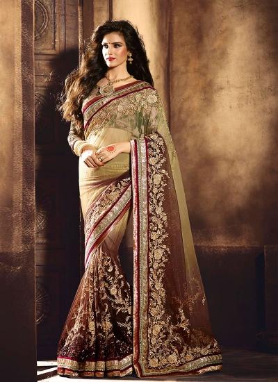 Staggering Net Brown Lace Work Designer Saree