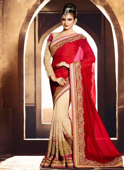 Deserving Shimmer Georgette Red Embroidered Work Designer Saree