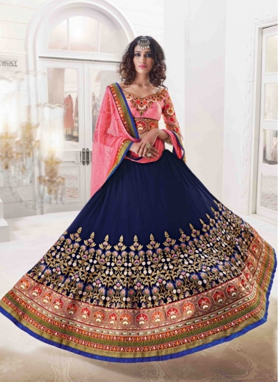 Sterling Crystal Silk Navy Blue and Pink Reception wear Lehenga choli