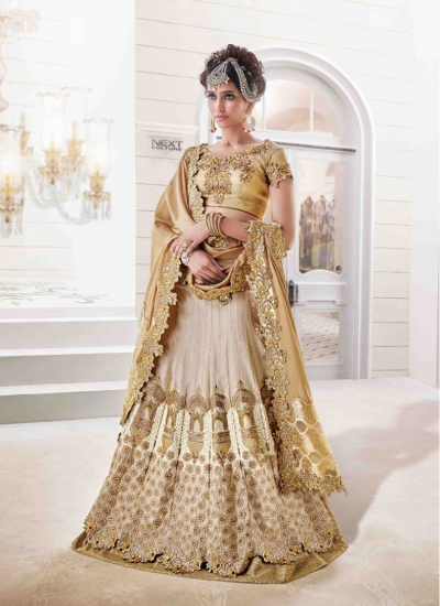 Silk Gold and Beige Crystal Reception wear Lehenga choli