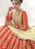 Net Cream and Red Colored Bridal Lehenga choli