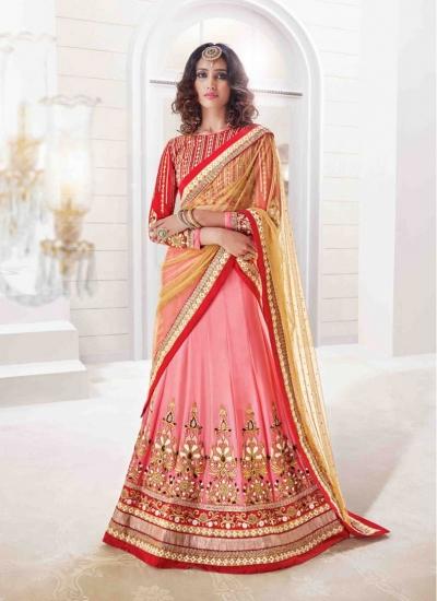 Aesthetic Cream and Pink Crystal Georgette Designer Wedding Lehenga choli
