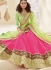 Hot Pink and Green Faux Crepe Patch Border A Line Lehenga Choli