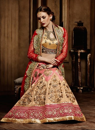 Bridal Pink And Red Lehenga Choli