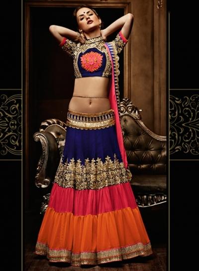 Bridal Blue And Pink Lehenga Choli