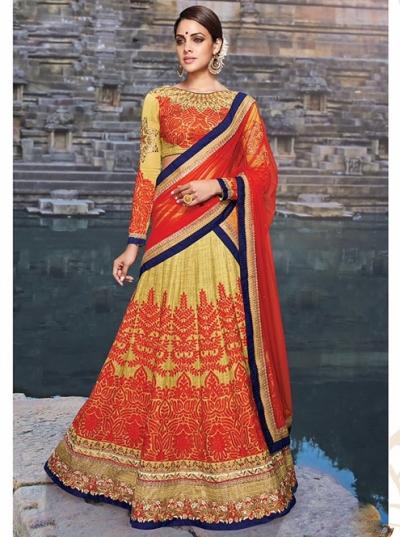 Red And Yellow Silk Lehenga Choli