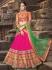 Pink And Green Georgette Lehenga Choli
