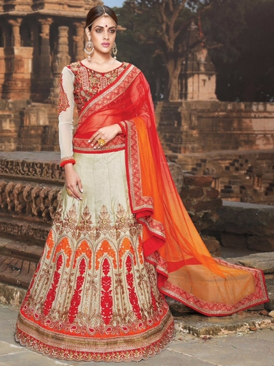 Off White Orange Silk Lehenga Choli