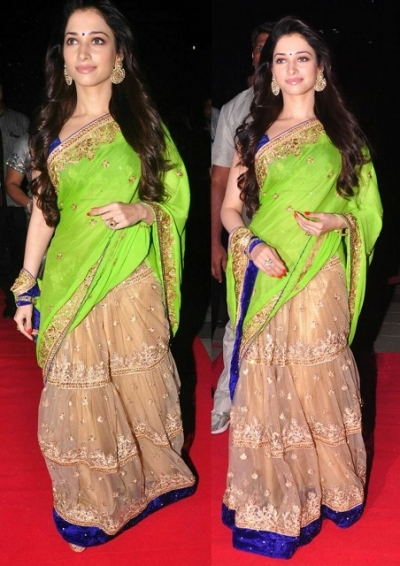 Tamanna Bhatia Green and beigecolor Lehenga saree