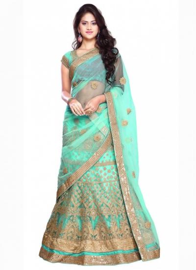 Bridal Turquoise Net Reception wear Lehenga choli